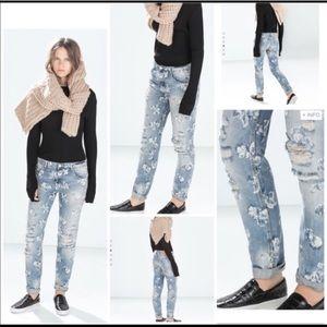 Zara Blue Floral Print Distressed Boyfriend Jeans